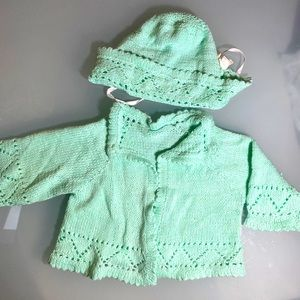 Hand knitted shawl sweater and hat